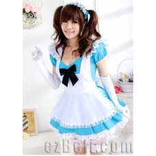 Lolita cute maid blue & white dress