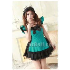 Lolita cute maid black & green dress