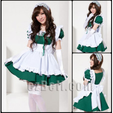 Lolita cute maid white & green dress