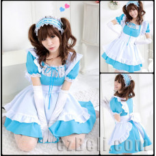 Lolita Cute Maid Sky Blue & White Dress With Lace
