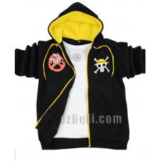Anime One Piece Monkey D. Luffy Black Hoodie Jacket
