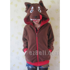 Brown Wolf Animal Hoodie Jacket