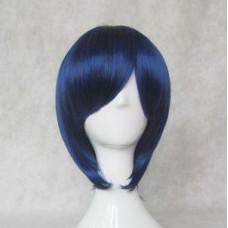 Cosplay Wig - Long Fringe Short Wig - Black mix blue