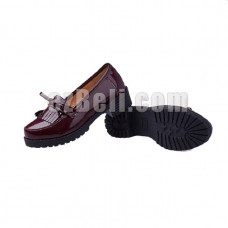 New! Hell Girl Lolita Anime Maroon/ Wine Red PU Leather Cosplay Shoes