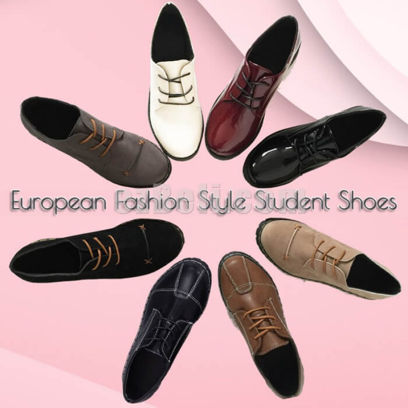 New! Anime Cosplay Shoes European Fashion Style Casual PU Leather Shoes Women School Uniform Cos Shoes