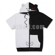New! Anime Danganronpa Monokuma Short Sleeves Casual Cosplay Hoodie Jacket Type 1