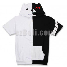 New! Anime Danganronpa Monokuma Short Sleeves Casual Cosplay Hoodie Jacket Type 2