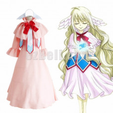 New! Fairy Tail First Guild Master Mavis Vermilion Cosplay Costume Pink Uniform Sleeve Lolita Dress