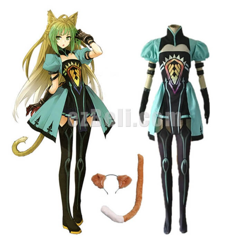 New! Anime Fate/Apocrypha Archer of Red Atalanta Green Dress Cosplay Costumes