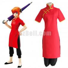 New! Anime Gintama Silver Soul Kagura Red Cheongsam Cosplay Costume