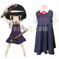 New! Anime Gugure! Kokkuri-san Kohina Ichimatsu Short Sleeves Blue school uniform Cosplay Costumes