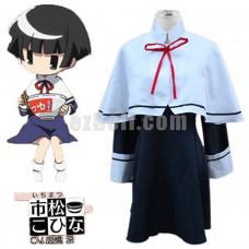 New! Anime Gugure! Kokkuri-san Kohina Ichimatsu costume Blue school uniform Cosplay Costumes