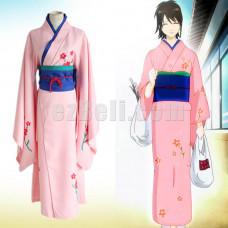 New! Gintama Silver Soul Shimura Tae Pink Kimono Cosplay Costume