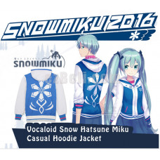 New! Anime Vocaloid Snow Hatsune Miku Long Sleeves Casual Hoodie Jacket