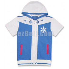 New! Anime Vocaloid Snow Hatsune Miku Short Sleeves Casual Hoodie Jacket