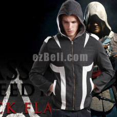 New! Assassin's Creed 4 Black Flag Black White Hoodie Jacket