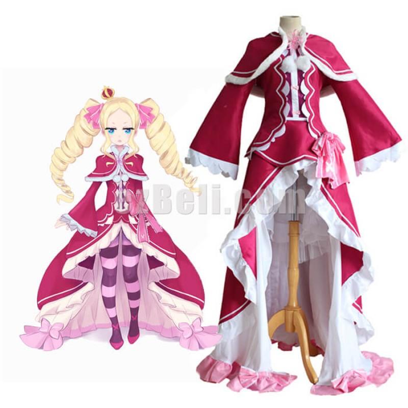 New! Re: Zero kara Hajimeru Isekai Seikatsu Beatrice Pink Dress Cosplay Costume