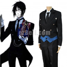 New! Anime Black Butler Kuroshitsuji Sebastian Michaelis Black Uniform Suit Cosplay Costume