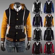 New! Casual Smart Varsity Jacket Baseball Buttons Hoodie Jacket