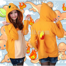 New! Coral Fleece Pokemon Cute Chamander Hitokage with Tail Hoodie Jacket
