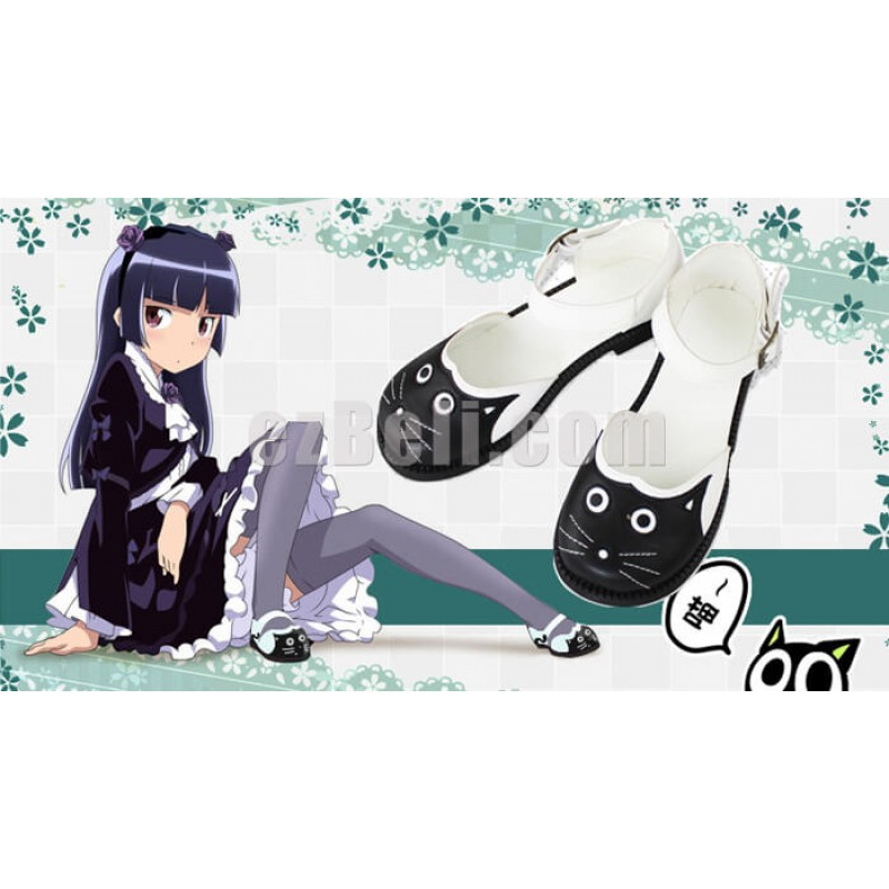 New!  Black White Japanese Retro Cat Pattern Classic Lolita Style Shoes
