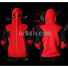 New! Deadpool Red Full Zip Up Hoodie Jacket