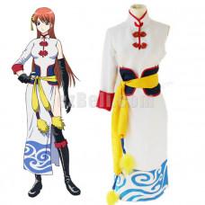 New! Anime Gintama Silver Soul Kagura White Cheongsam Cosplay Costume