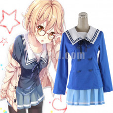 New! Anime Kyokai no Kanata (Beyond the Boundary) Kuriyama Mirai Cosplay Costume Japanese Girl's School Uniform