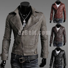 New! Leather Long Sleeves Biker Jacket for Men