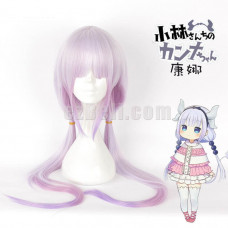 New! Miss Kobayashi-san Dragon Maid Kanna Kamui Light Purple Gradient Cosplay Wig