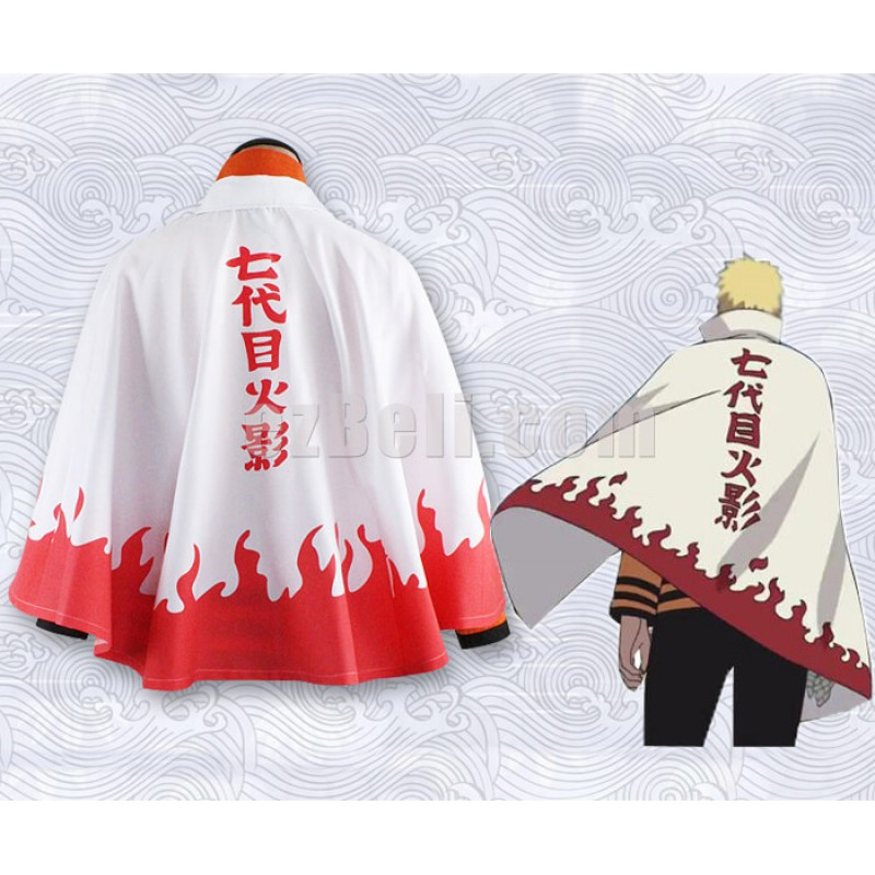 New! Naruto Uzumaki Hokage Attire Cosplay Cloak