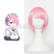 New! Re:Zero Life In A Different World From Zero Ram Pink Cosplay Wig