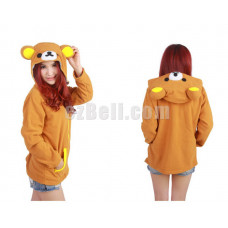New! Coral Fleece Rilakkuma with Ears Hoodie Jacket