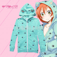 New! Love Live! Rin Hoshizora Cat Paw Printed with Ears Cosplay Hoodie Jacket