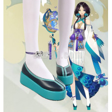 New! Onmyoji Yin Yang Master Cyan Black Cosplay Shoes