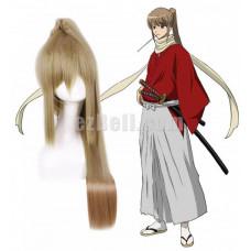 New! Gintama Okita Sougo Red Kimono Cosplay Wig