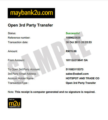 Sample of a bank-in receipt via Online Transfer,