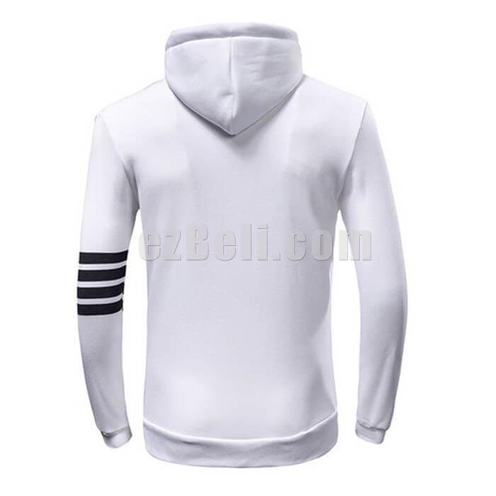 White Black Stripes Long Sleeves Sweatshirt Hoodie Jacket