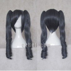 Black Butler Kuroshitsuji Ciel Phantomhive Genderbend black double tails curly Cosplay wig