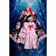 Lolita Cute Maid Pink & Black Kimono
