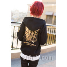 Attack on Titan 進撃の巨人 Shingeki no Kyojin - Black Gold Survey Legion Hoodie Jacket