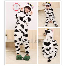 Coral Fleece Cartoon Cow Animal Kigurumi Pajamas Pyjamas Costume Cosplay