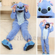 Coral fleece Disney Stitch Onesie Kigurumi Pajamas Pyjamas Costume Cosplay