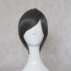 Cosplay Wig - Long Fringe Short Wig - Black mix Gray