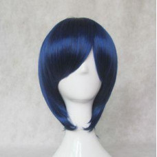 Cosplay Wig - Long Fringe Short Wig - Black mix blue