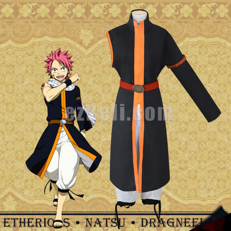 New! Fairy Tail Etherious Natsu Dragneel Third Generations Black Long Trench Clothes & Pants Cosplay Costume