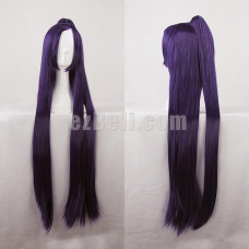 New! Tohka Yatogami Straight Long Wig 100CM Dark Purple with Pony Tail Cosplay Wig