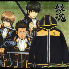 New! Anime Gintama Silver Soul Casual Cosplay Black Hoodie Jacket