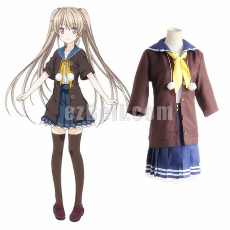 New! Anime Ao no Kanata no Four Rhythm Across the Blue Mashiro Arisaka Cosplay Costumes Dress School Uniform
