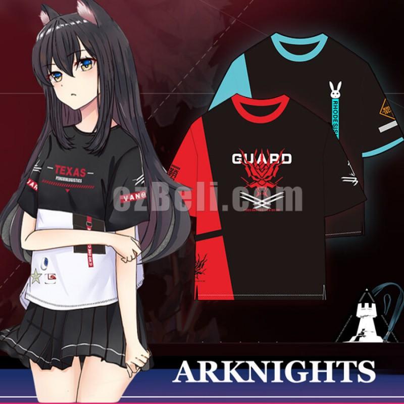 New! Game Arknights  Amiya Texas Lappland Exusiai Angel Chen Guard Casual Cosplay T-Shirt